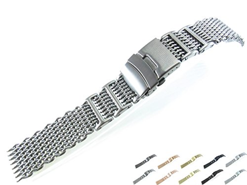 22mm Stainless Steel Mesh Bracelet Watch Band 1222WHI Silver Black IN14 Gold Rose Gold Titanium (Brushed - Watch Titanium Mesh