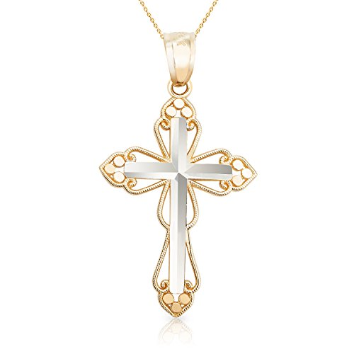 (Jewel Connection Solid 14k White Yellow Gold Cross Women Children (20))