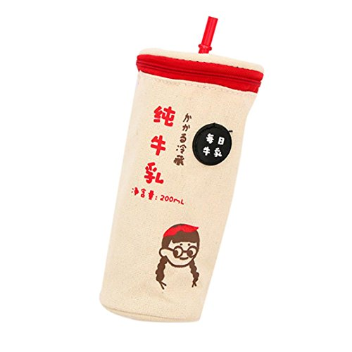 Pencil Case for Kids,Amiley Milk Tea Cup Bag Purse Pen Box Pencil Bag Pourch Holder Best Gifts for Girls (B) (Basket Cupcake Baby Gift)