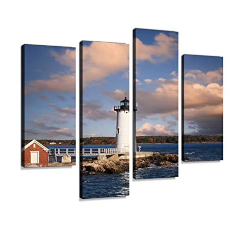 Portsmouth Harbor Lighthouse in New Castle, NH Canvas Wall Art Hanging Paintings Modern Artwork Abstract Picture Prints Home Decoration Gift Unique Designed Framed 4 Panel