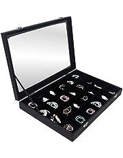 Hivory Bracelet & Jewelry Organizer Tray- See Through Lid- Black Velvet -for Organzing & Decluttering Bracelets, Bangles & Watches, Rings & Earrings-Jewelry Organizer for Women Teens & Girls