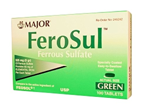 MAJOR FEROSUL 325MG  GREEN FERROUS SULFATE-325 MG Green 100