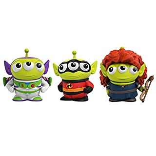 Pixar Alien Remix Character Figures 3-pack 3-inches, Mr. Incredible from The Incredibles, Buzz Lightyear from Toy Story and Merida from Brave, Retro fun Pizza Delivery Box Package for Ages 3 and Up