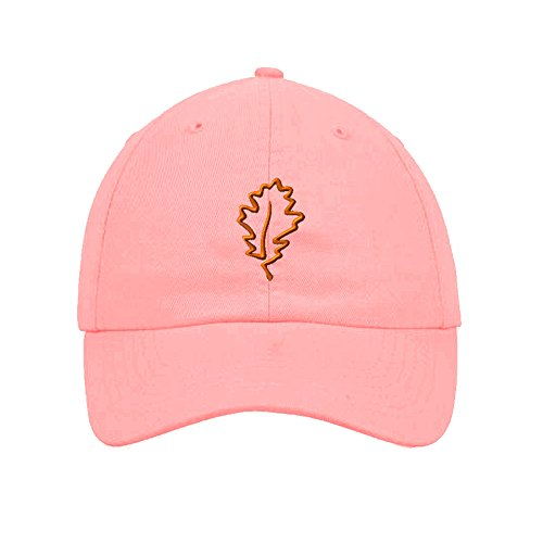 Speedy Pros Cotton 6 Panel Low Profile Hat Plants Oak Leaf Tree Embroidery Soft Pink