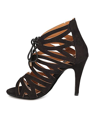 Dbdk Fa89 Mujeres Faux Suede Peep Toe Caged Stiletto Lace Up Sandalia - Negro