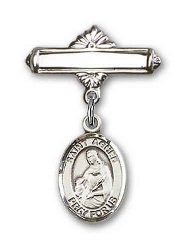 Icecarats Créatrice De Bijoux En Argent Sterling St. Agnes De Charme Rome Broche De Badge 1 X 5/8