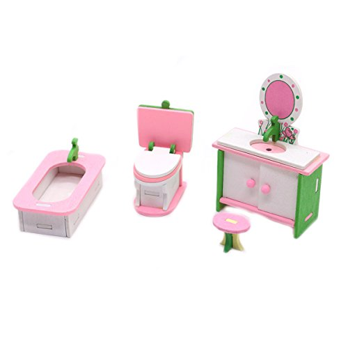 HUELE Dollhouse Miniatures Bathroom Set for - Dollhouse Bathroom Vanity