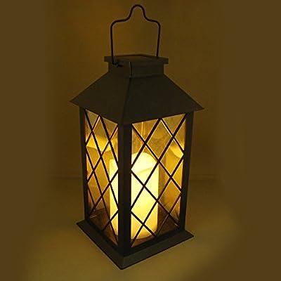 LumaBase 94001 Tudor with LED Candle Solar Powered Lantern, Black