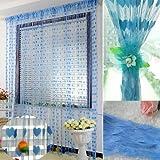 Ramcha Heart 2 Piece Polyester String Door Curtain Set - 6.5ft, Blue