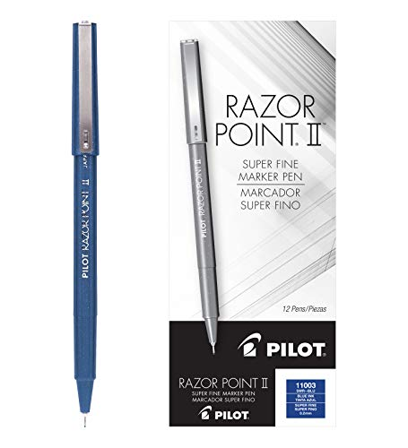 Pilot Razor Point II Marker Stick Pens, Super Fine Point, Blue Ink, Dozen Box (11003)
