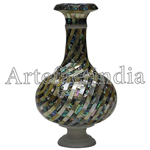 Artefactindia Vintage White Marble Flower Vase Mosaic Art Inlay Flower Vase Inlaid with Paua Shell for Home Décor