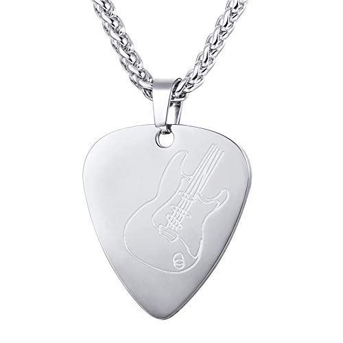 U7 Men Women Guitar Pick Necklace with Adjustable Chain Stainless Steel Music Jewelry Personalized Pendant Gift