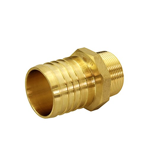 (Everflow EPMA1034-NL 1 Inch x 3/4 Inch Lead Free Brass Adapters PEX x MIP, Brass Construction, Compatible w/ PEX Piping, Low-Cost plumbing Connection, Durability & Reliability, Easy to)