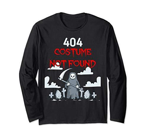 (Halloween Shirt Grim Reaper Spooky Graveyard 404 Error Gift Long Sleeve)
