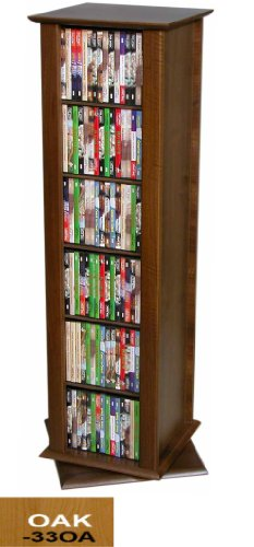 Revolving Media Tower-2 Sided Oak