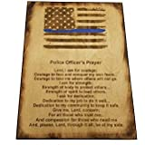 "Police Officer Gift Sign - Police Prayer 8.5"" x 11.5"" - Distressed American Flag with Thin Blue Line and Police Officer's Prayer"