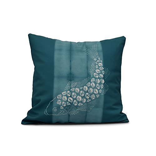 E by design Fish Pool Animal Print Pillow, 16'' x 16'', Teal by E by design