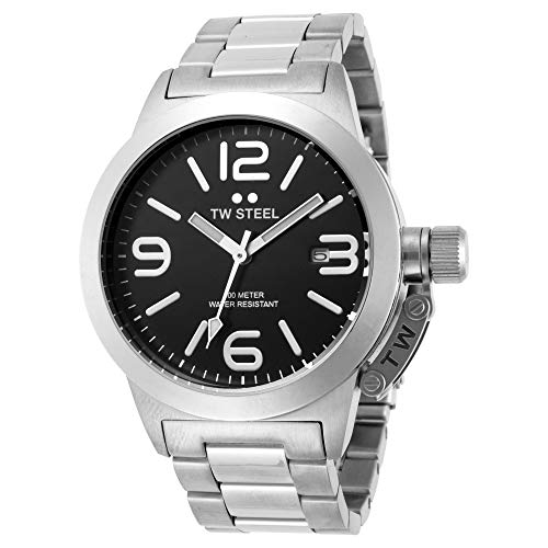 - TW Steel Canteen 40mm Black Dial Stainless Steel Unisex Watch TW300