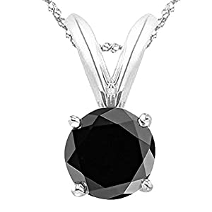 1 Carat 14K White Gold Round Black Diamond 4 Prong Solitaire Pendant Necklace (AAA Quality) W/ 16