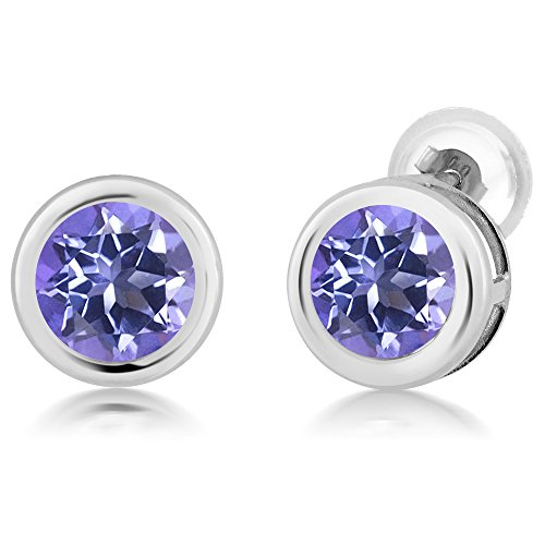 Gem Stone King 2.00 Ct Round 6mm Purple Blue Mystic Topaz 14K White Gold Stud Earrings