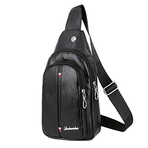 LONGESS Sling Backpack Mens PU Leather Chest Sling Bag Crossbody Shoulder Bag For Men Business Backpack Outdoor with Headphone Ports (Black) ()