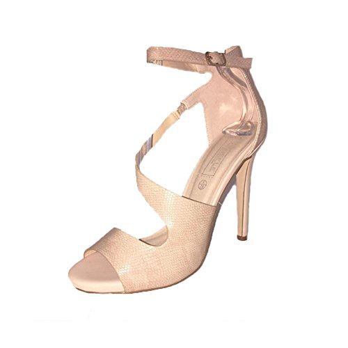 Ankle Snake Nude Sleek Effect High Nude Sandals Heel With Strap qnTSBw