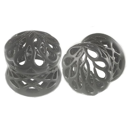 1/2'' Inch (12mm) Black Alloy Double Flared Ear Plugs - Sold as a Pair by bodyjewellery