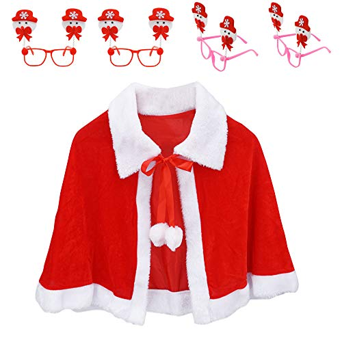CHARMGIRL Christmas Capes Santa Cloak Shawl Red Velvet Cappa with 4 Pcs Christmas Glasses Frame for Girls Women Xmas Party Costume Cosplay ()