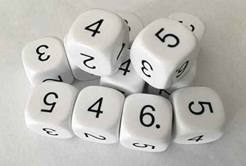 Digit Dice 1-6 (set of 12) for use with Operations Dice
