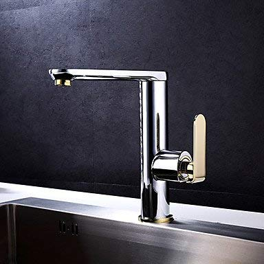 Wghz Art Deco/Retro Standard Spout Widespread with Ceramic Valve Single Handle One Hole forTi-PVD, Kitchen Faucet