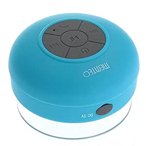 Altavoz bluetooth ducha Inalámbrico Impermeable con Ventosa Manos libres baño Piscina Coche Cocina con microfono Impermeable Portatil Azul Compatible con móvil y tablet para iPhone, iPad, iPod, Samsung Galaxy, Nokia, HTC, Blackberry, Google, LG, Nexus