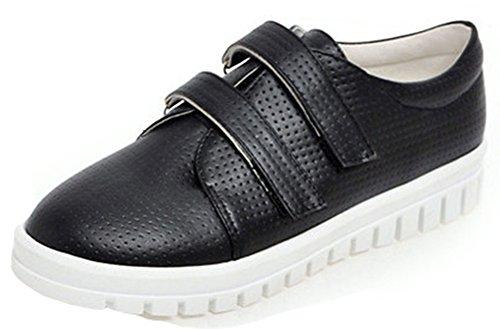 IDIFU Women's Casual Round Toe Flat Velcro Sneakers Low Top Skateboard Shoes Black 10.5 B(M) US