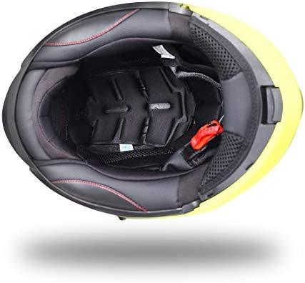 NENKI NK-860 Motorbike Helmet Motorcycle Moped Scooter Flip Up Modular Crash Helmets XL, Black Red Matt