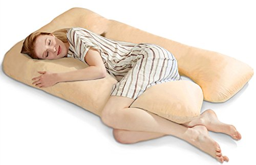 "Price comparison product image puredown U Shaped Adjustable Maternity / Pregnancy Full Body Pillow with Zippered Cover 32"" x 56"" Beige"