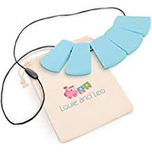Louie and Leo Big Block Silicone Teething Necklace for Mom (TURQUOISE)
