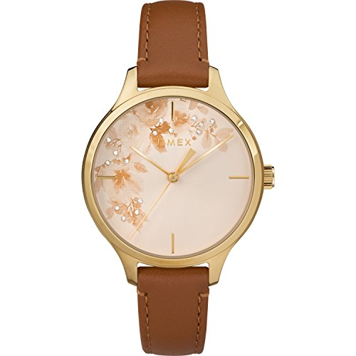 Timex Women's TW2R66900 Crystal Bloom Tan/Gold Floral Accent Leather Strap Watch (Strap Leather Collection)