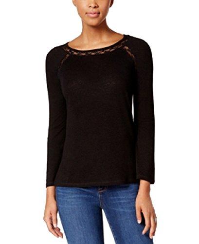 Calvin Klein Jeans Lace-Trim Top (Black, S) - Lace Trimmed Linen