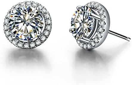 Real Silver 1/2 CARAT/ Piece Halo Paved Round NSCD Simulate Diamond Stud Earrings for Women