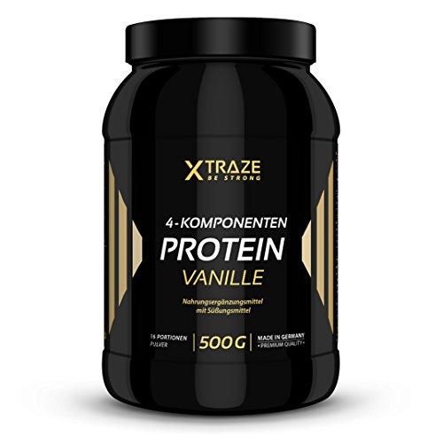 XTRAZE® 4 Komponenten Protein Pulver 500g Vanille 90,6% Eiweiß, Isolat + BCAA + Glutamin