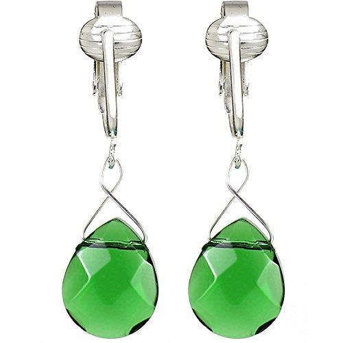 Green Bead Clip Earrings - Elegant Glass Briolette Clip On Earrings for Women, Girls- Romantic French Dangle, Pierced Look w Clip (Green)
