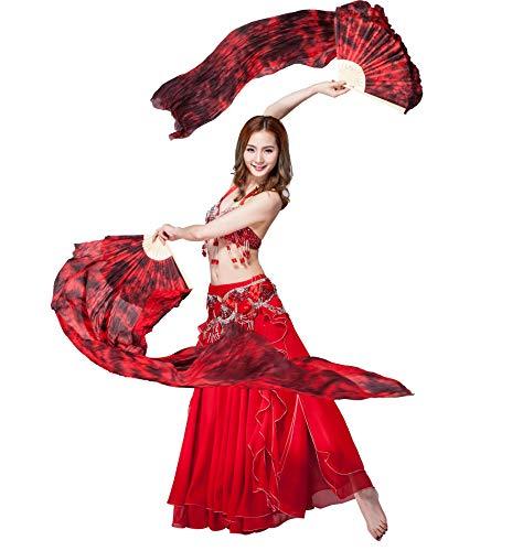 ZLTdream Colors Belly Dance Silk Bamboo Long Fans 1.8M -
