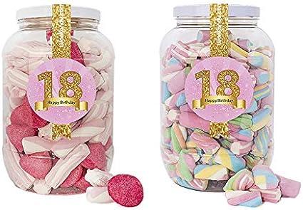 Wonkandy Happy Birthday, Chuches para cumpleaños - Decoración cumpleaños 18, Surtido de dulces para Candy Bar color Rosa: Amazon.es: Alimentación y bebidas
