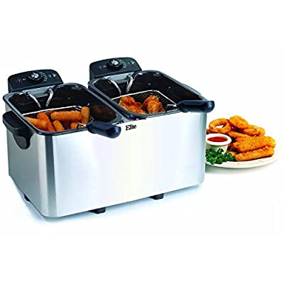 Maxi Matic Dual Deep Fryer Stainless Steel, 2 x 4 qt, White