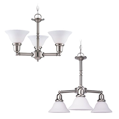 Sea Gull Lighting 31060-962 Sussex Three-Light Chandelier, Brushed Nickel Finish with Satin White - Sussex Single 962 Light