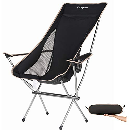 KingCamp Ultralight Compact Strong High Back Folding Chair with Armrest Cup Holder, Only 3.7 lbs (Pico Chair)