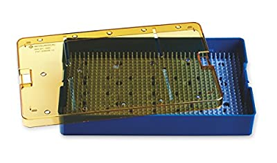 """Key Surgical PST-3200SB Plastic Sterilization Tray, 10"""" x 6"""" x 1.5"""" Base, Lid, and Silicone Finger Mat Insert"""