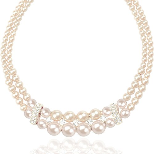 Double Strand New (TAGOO Simulated Pearl Chunky Collar Necklace 17.5