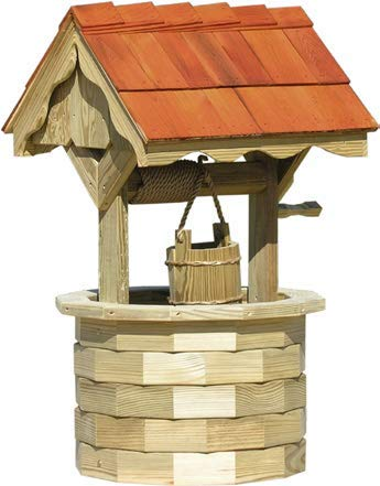(LuxCraft Garden 4' Wishing Well with Cedar Roof)