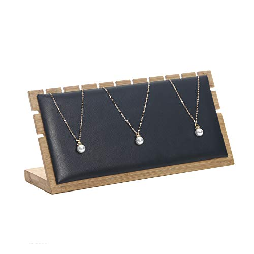 Display Stand Necklace Pendant - Bocar Bamboo Jewelry Display Stand Showcase Pendant Necklace (ZZ-3-black Leather)
