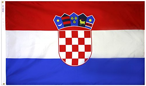 Annin Flagmakers Model 191836 Croatia Flag 3x5 ft. Nylon SolarGuard Nyl-Glo 100% Made in USA to Official United Nations Design Specifications.